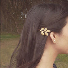 Fashion Lovely Women Girl Alloy Golden Leaf Hair Clip Pin Accessory Xmas Gift