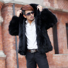 2018 Winter Autumn men's hooded faux fox fur coat Men fur jackets casaco Thickening warm winter Outwear leisure male overcoats(China)