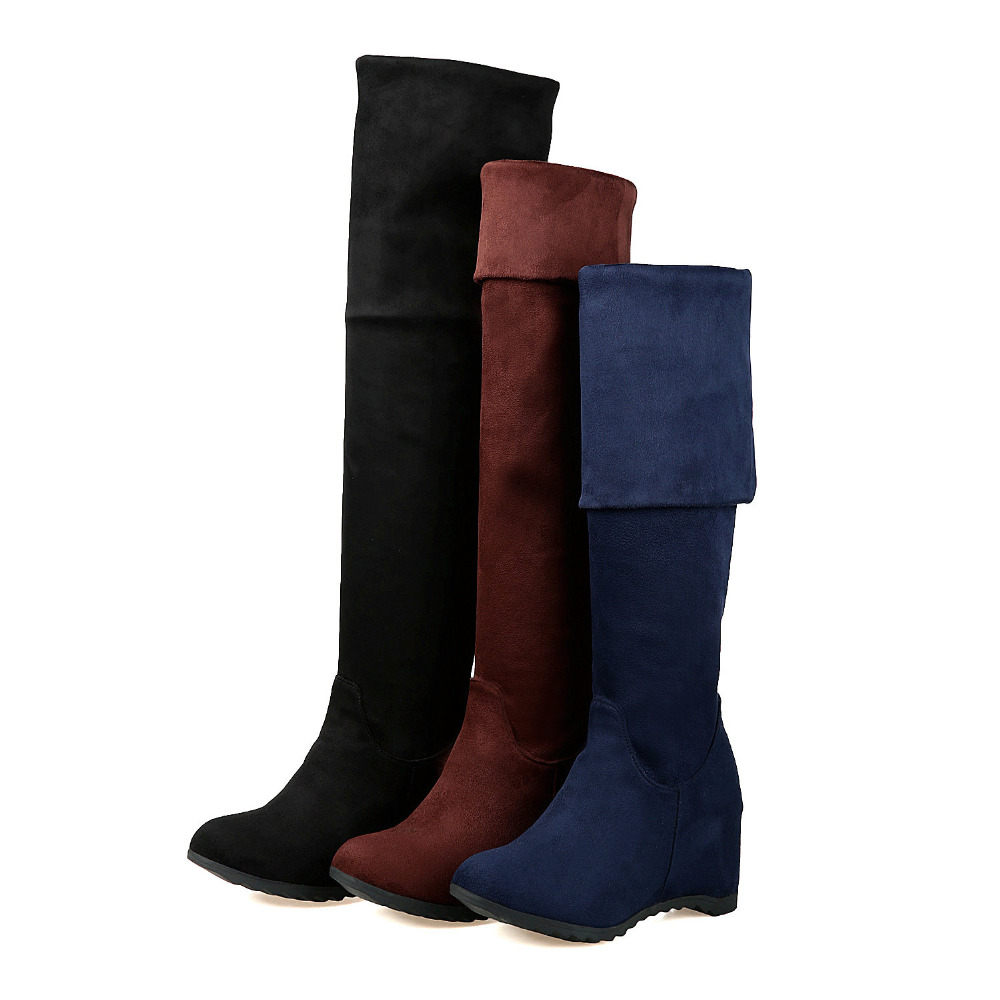 Womens Thigh High Boots Stretch Over The Knee Boots Plus Size 33-43 Heels Shoes Woman Flock Thigh High Boots Botas Free Shipping<br><br>Aliexpress