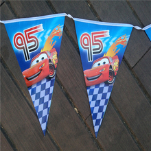 10pcs/line Baby Birthday Party Flags Blue Paper Banners Bunting Decoration Kids Birthday Party Supplies Cars Boys P262
