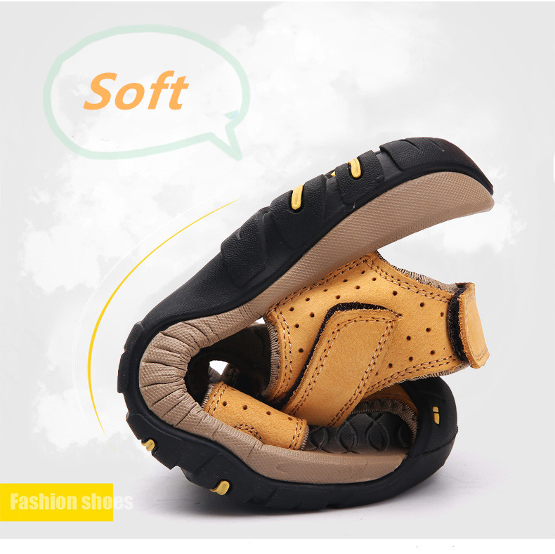 STS BRAND 2019 Summer Genuine Leather Sandals Men Casual Shoes Sneakers Plus Size Beach Sandals for Man Outdoor Casual Sneakers (5)
