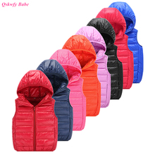 Children New Down Waistcoats Girl and Boy Hooded Warm Candy Color Vest Kids 90% White Duck Down Sports Vests 4-11 Year(China)