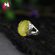 Top Quality Gemstone Yellow Chalcedony Wedding Ring 100% 925 Sterling Silver Jade Ring For Women Hollow Carving Flower SR08(China)