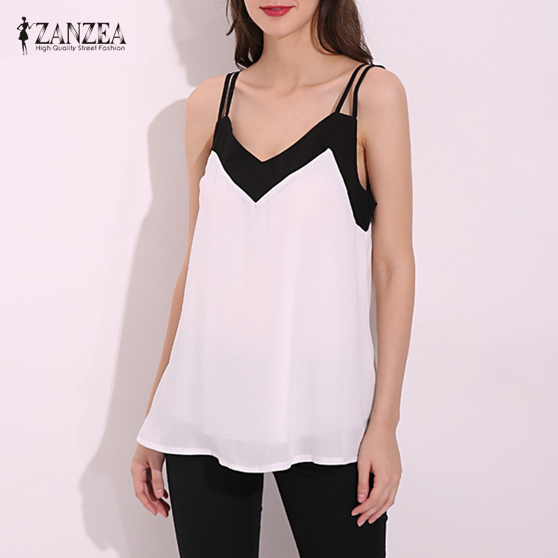 ZANZEA 2018 Summer Style Women Blusas Sexy V Neck Casual Sleeveless Halter Blouse Shirts Loose Plus Size Chiffon Tank Tops Vest