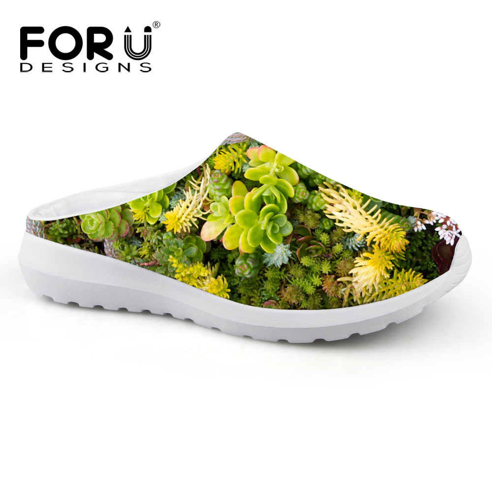 FORUDESIGNS 2017 Fashion Women Sandals Novelty Green Plants Printed Female Breathable Mesh Slip-on Sandals Casual Summer Shoes<br>