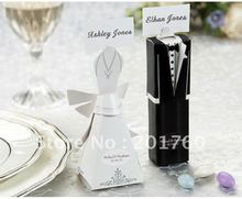 Wedding favor boxes gift paper bags candy boxes Bridal Gown Dress and Groom's Tuxedo 200pcs/lot free shipping mix order