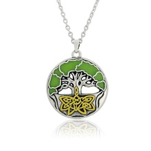 5PCS Sell Well R Green Life Tree Jewelry Pendant Necklace Color Oil Wishing Tree Jewelry Necklace(China)