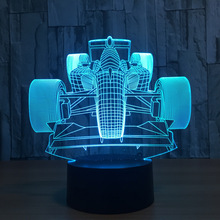 F1 Racing 3d Lamp 7 Color Led Night Lamps For Kids Touch Led Usb Table Lampara Lampe Baby Sleeping Nightlight Led Sensor Light(China)