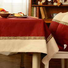 Chinese Retro Faux Linen Two Colors Stitching Tablecloth For Wedding Party Home Table Cloth Cover Textile Decoration(China)