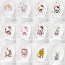 Keythemelife 1pcs Cartoon Hello Kitty Toilet Stickers Waterproof stickers Wall Decorative Landscaping Home decor E0(China)