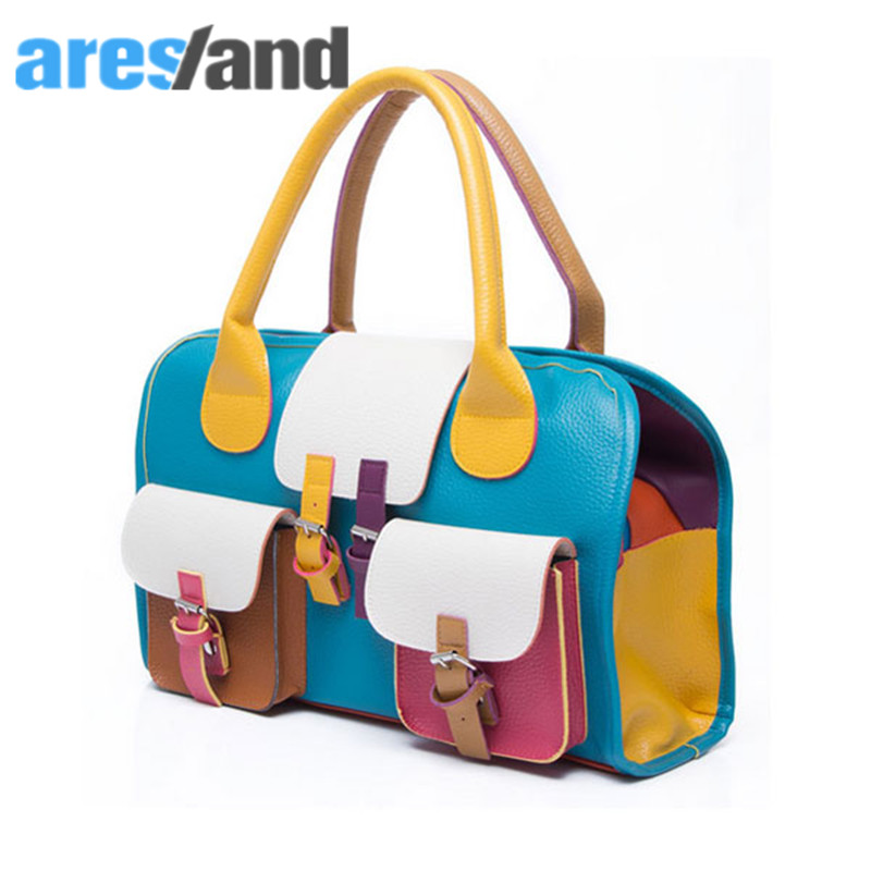 Aresland Clearance Fashion Stylish Multicolor Womens PU Leather Handbag shoulder bag with Two Flap Pockets<br><br>Aliexpress
