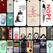 6/6S Nostalgia Design Painting Cat Baby Calculator Recorder Phone Cases For Apple iPhone 6 6S Case Shell Cover Newest Arrival !!