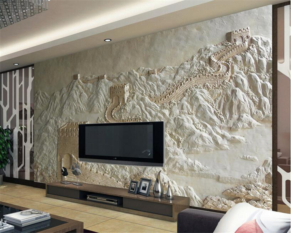 Beibehang Custom Wallpaper Great Wall Relief Chinese TV Background Wall Mural Design Living Room Bedroom wallpaper - Design For Living Behang
