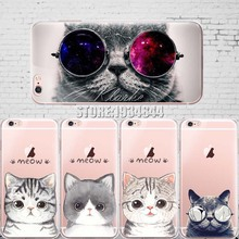 Cute Cat with Glasses Pattern Case Cover For iphone 6 6S 5 5s se 7 7PlusTransparent Soft Silicone Cell Phone Cases(China)