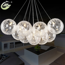 Aluminum Wire Glass Ball Chandeliers 10 Heads G4 Led Hanging Lighting 110V 240V Round Ball Droplight Home Decor for Hotel Hall