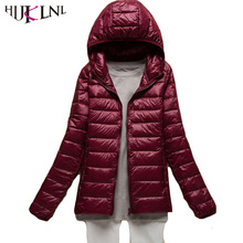 HIJKLNL New Ultra Light Down Jacket For Girls Winter Hooded Short Ladies Plus Size Down Coat Parkas Mujer Invierno 2017 HB161