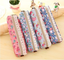 1 PCS Lace Flower Girls Kawaii Pencil Case Multi-functional Stationery Pen Bags Storage Zipper Pencil Box