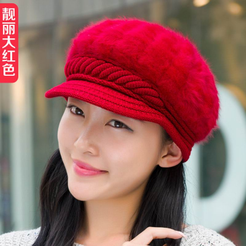 Hat female autumn and winter knitted hat knitted rabbit fur beret winter thermal knitted hat casual all-match Одежда и ак�е��уары<br><br><br>Aliexpress