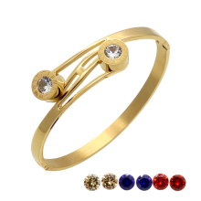 Roman Numerals Bangle Gold Plated Women Crystal Wedding Bracelet Interchangeable CZ Imitation Diamond Bracelets & Bangles