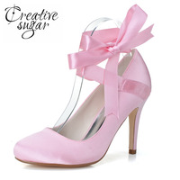 a5a25d97e255 Creativesugar Elegant ribbon ankle strap lace up closed toe high heels  bridal wedding party pumps prom