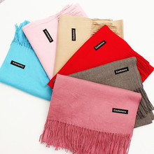 20 Pure Color Brand New Scarf Unisex Female Male Canada Wool Cashmere Scarf Pashmina Tassels Women Men Wrap Warm scaves 180x65cm