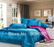 blue rosy mix match colors Smooth shiny tribute silk satin bed linen girls bedding comforter queen/full quilt duvet covers set