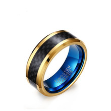 8MM Tungsten Carbon Fiber Ring, Gold, Blue(China)
