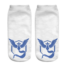 Best Price Unisex Low Cut Ankle Socks White Sock Women's Casual POKEMON team mystic Socks for Most People(China)
