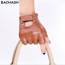 BACHASH New Fashion Design Motorcycle Glove Mitts Button Hollow Unisex Fashion Half Finger Leather Car Mitten For Women Fashion