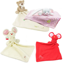 1pc Baby Comforter Toy Cute Cartoon Animal Mouse bear Soft Plush Rattle with Ring Bell Multifunctional Saliva towel Baby Care(China)