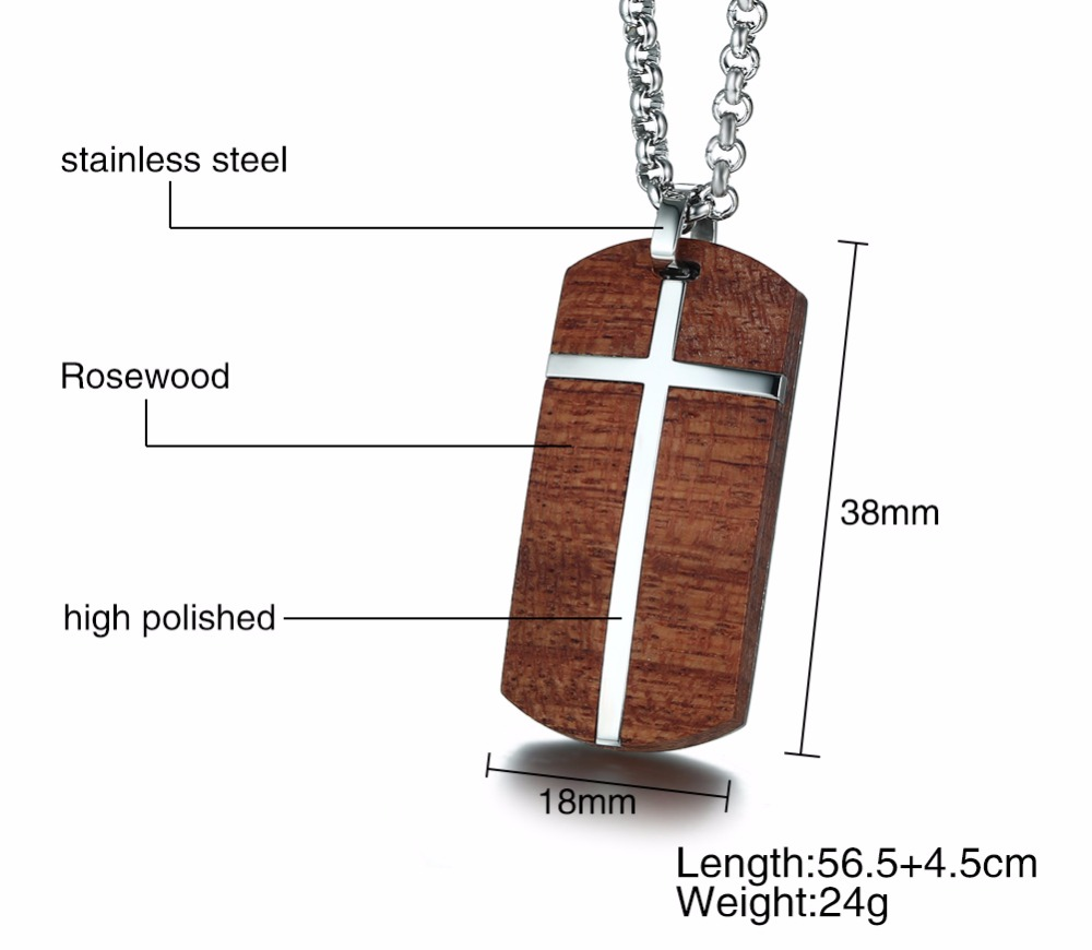 Unique Mens Necklaces Hand Crafted Rosewood Cross Inlay Pendant Necklace Men Wood Jewelry with Stainless Steel 24_ Chain collares collier colar kolye collane 13