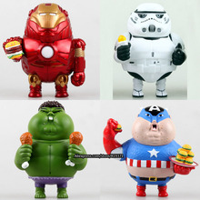 New Arrival Novelty Marvel Movie Action Figures Toys Fatty Version Avengers 2 Iron Man Hulk Captain America FCZ-6