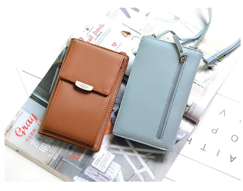 19 New Women Casual Wallet Brand Cell Phone Wallet Big Card Holders Wallet Handbag Purse Clutch Messenger Shoulder Straps Bag 28
