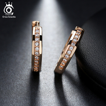 ORSA JEWELS New Trendy Champagne Gold-Color&Silver Color Cubic Zirconia Simple Item Female Earrings Hoop Jewelry for Women OME34(China)
