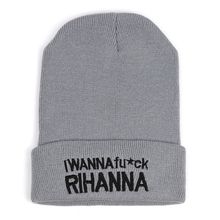 2016 Winter Beanie I wanna fuck Rihanna Fashion Style Beanie For Men And Women Skull Hat Warm Cap Gorros Bonnets for Fashion Men