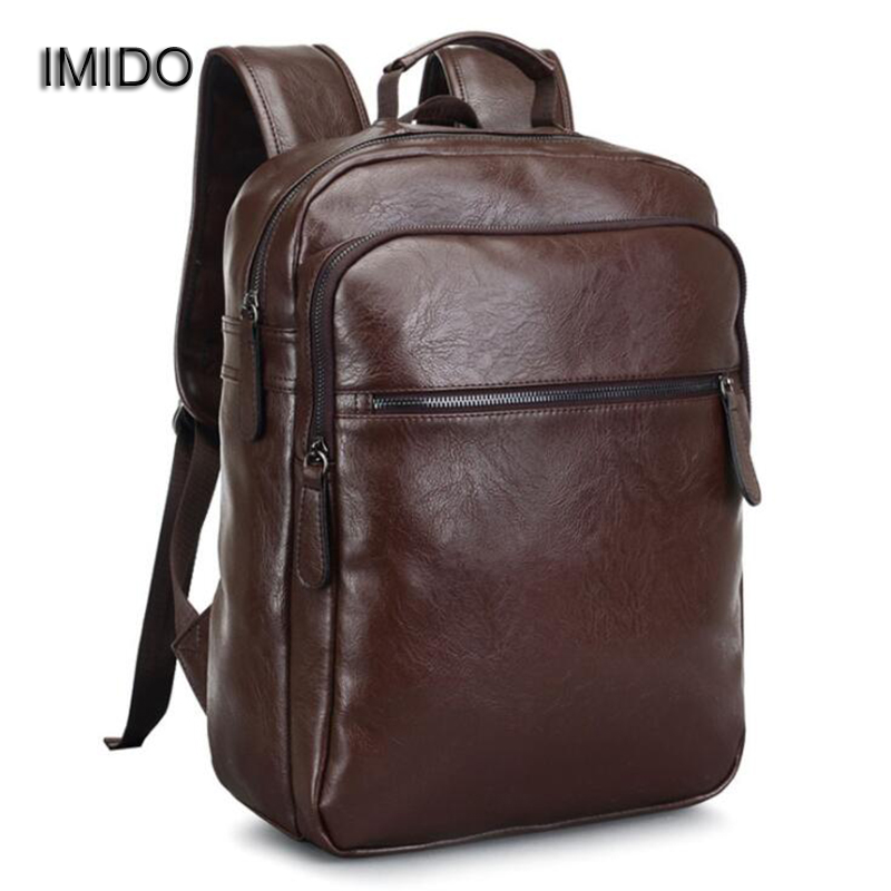 IMIDO New Large Capacity Mens Soft Leather Backpack for Travel Casual Men Daypacks Male Backpack Mochila Rucksack Brown SLD085<br>