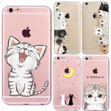 New Brand New Animal Cat Design Tpu Transparent Coque Capa Para Mobile Phone Bag Case Cover For iphone 5 5s SE 6 6s Plus 6Plus