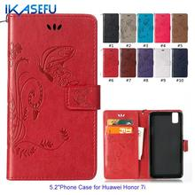 "IKASEFU Embossed Butterfly Stand Wallet Flip Leather Phone Case for HUAWEI Honour 7i 5.2"" Sock Magnet Closure Card Holder Cover"