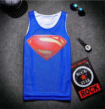 2016 new fashion men's summer Tank tops 3D graphic print Blue vest Superman logo Sugan Breathable mesh vest sleeveless tops tees