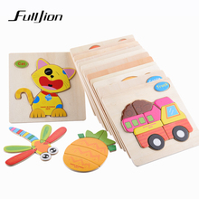 Fulljion Learning Education Wooden Toys 3d Puzzle kids Gift Brain Jigsaw Cartoon Animal Wooden Puzzles Toy Children Educativos(China)