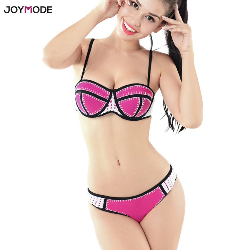 JOYMODE Neoprene Swimwear Women Push Up Brazilian Bikini Set Padded Swim Swimsuit Crochet Beach Biquini Sexy Swimsuit Women 2018<br>