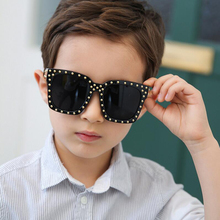 WOWSUN Big Frame Square Fashion Children Sunglasses Boys Trendy Rivet Sun glasses for Girls Summer Shades Baby Goggles A263(China)