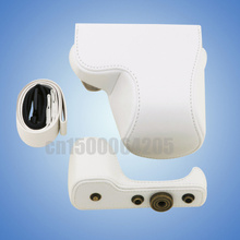 White New Camera PU Leather Case Cover Bag + Shoulder Strap for S&ny A5000 NEX-3N NEX 3N 16-50mm Lens(China)