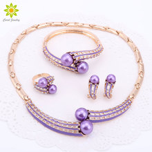 Gold Color Jewelry Sets Women Brand Jewelry Set/ Wedding Accessories For Women Simulated Pearl Crystal Necklace Sets 2Colors(China)