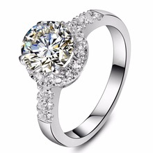 2CT Excellent Round Moissanite Diamond Ring Engagement Jewelry Micro Paved Setting Sterling Silver Jewelry Test Positive Ring(China)
