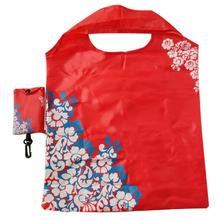 Flower Print Portable Travel Shoulder Bag Foldable Shopping Bag Eco Friendly Reusable Tote Pouch Recycle Storage Grocery Handbag
