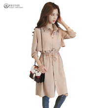2017 New Autumn Plus Size Trench Coat Women Leisure Pure Color Long Windbreaker Loose Thin Outwear Fashion Trench Coats OK796