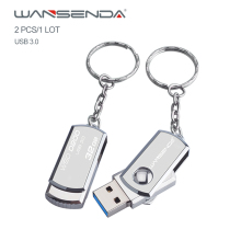 Wansenda Stainless steel USB Flash Drive USB 3.0 Portable Pen Drive with Key Chain 64GB 32GB 16GB 8GB 4GB Memory Stick 2pcs/1Lot