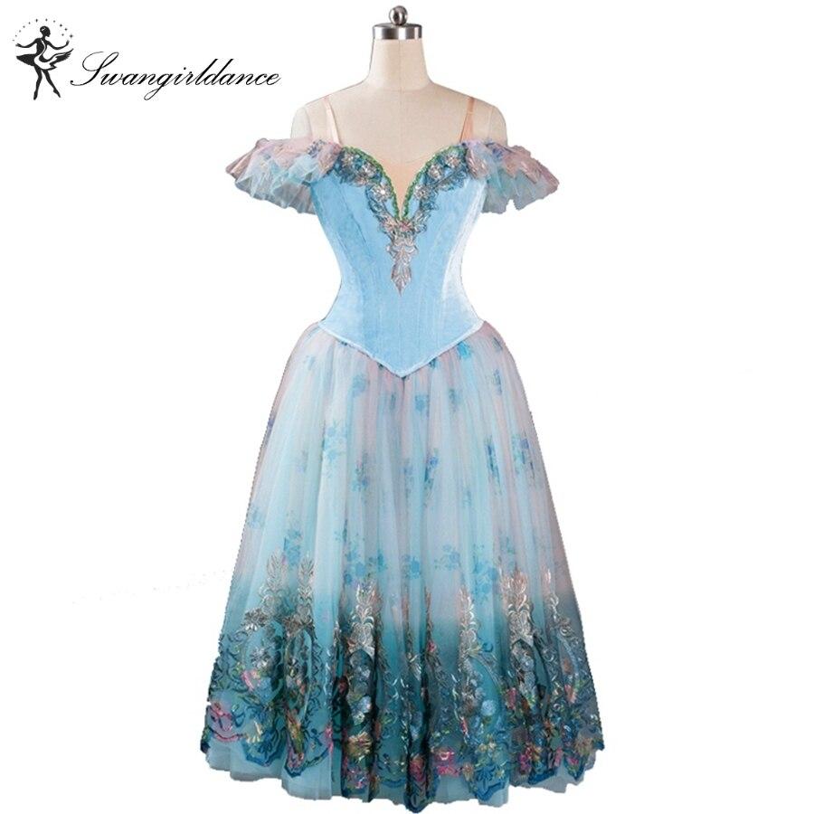 sleeping beauty ballet dress romantic adult giselle ballet tutu dress blue professional dress women ballerina dress BT9116
