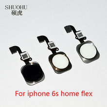"shuohu brand 10 pcs Home Button with Flex Cable for iPhone 6s 4.7"" Black/White/Gold Home Flex Assembly Free shipping"
